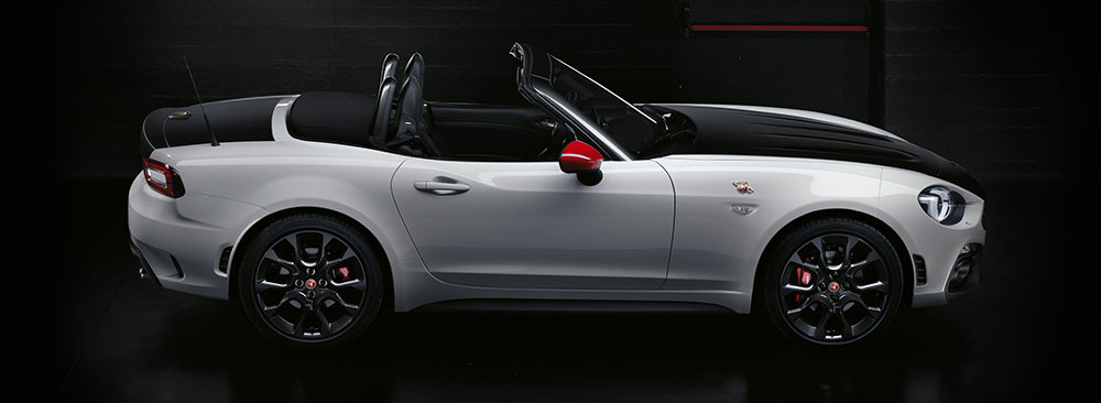 Abarth 124 spider with roof down