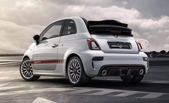 Rear view of a white Abarth 595c.