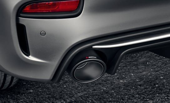 Close up of an Akrapovic exhaust.