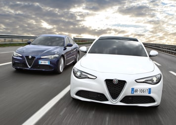 Two Alfa Romeo Giulias side by side