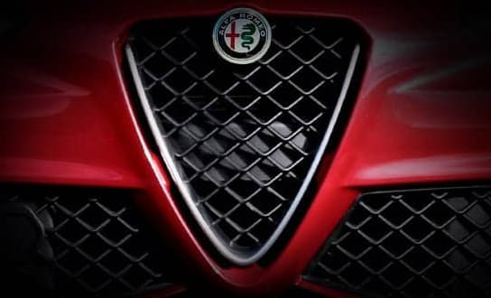Close up of the Alfa Romeo Giula front grille.