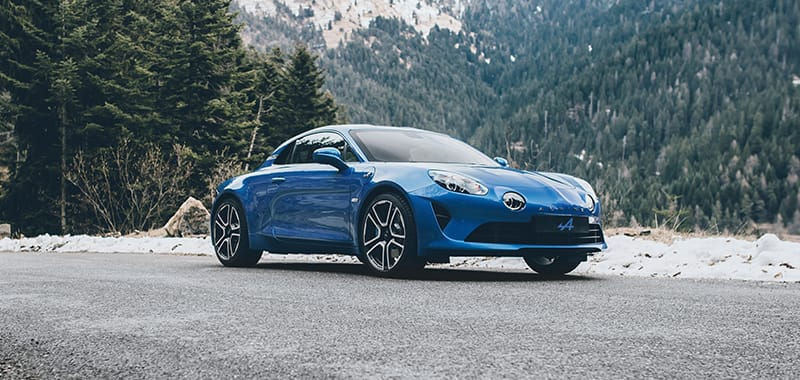 Alpine A110 Pure on a gravel road