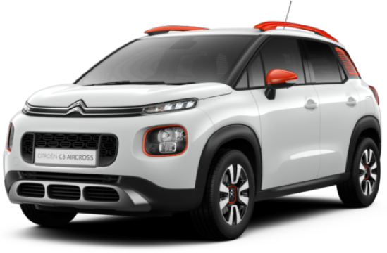 Citroen C3 AIRCROSS in white with orange accent styling facing away with a view of the back.