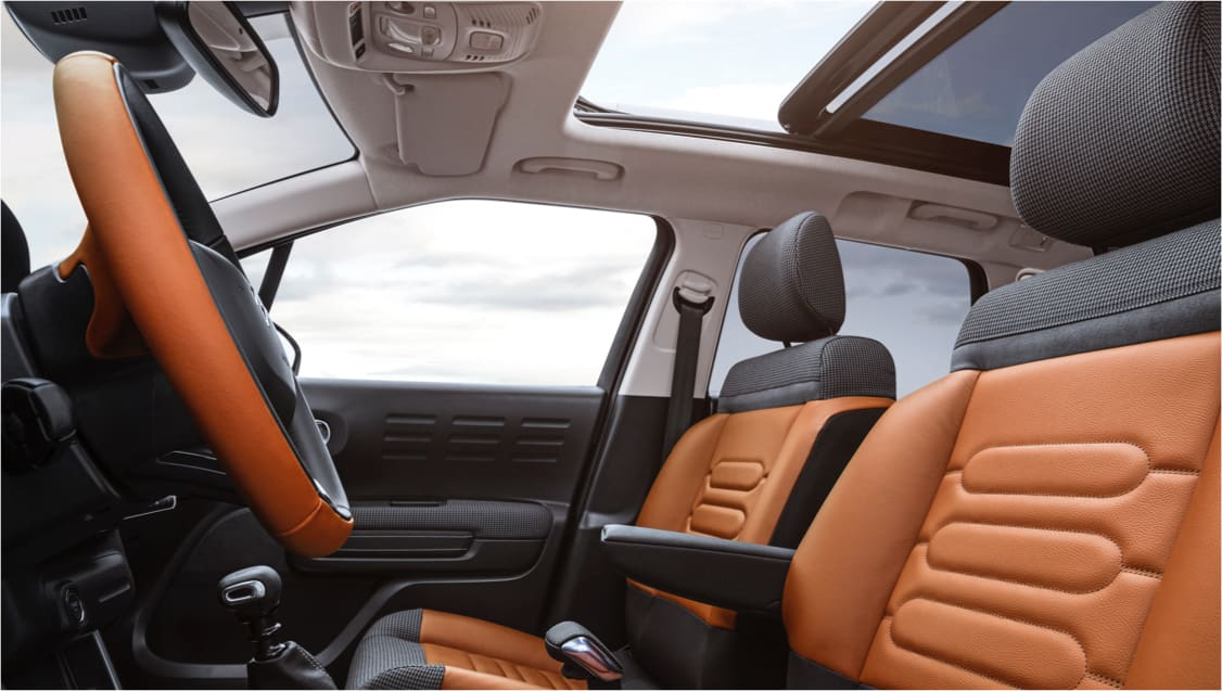 Orange interior of the Citroen C3 Aircross.