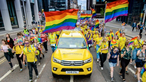 Arnold Clark Roadies truck in middle of Glasgow Pride parade