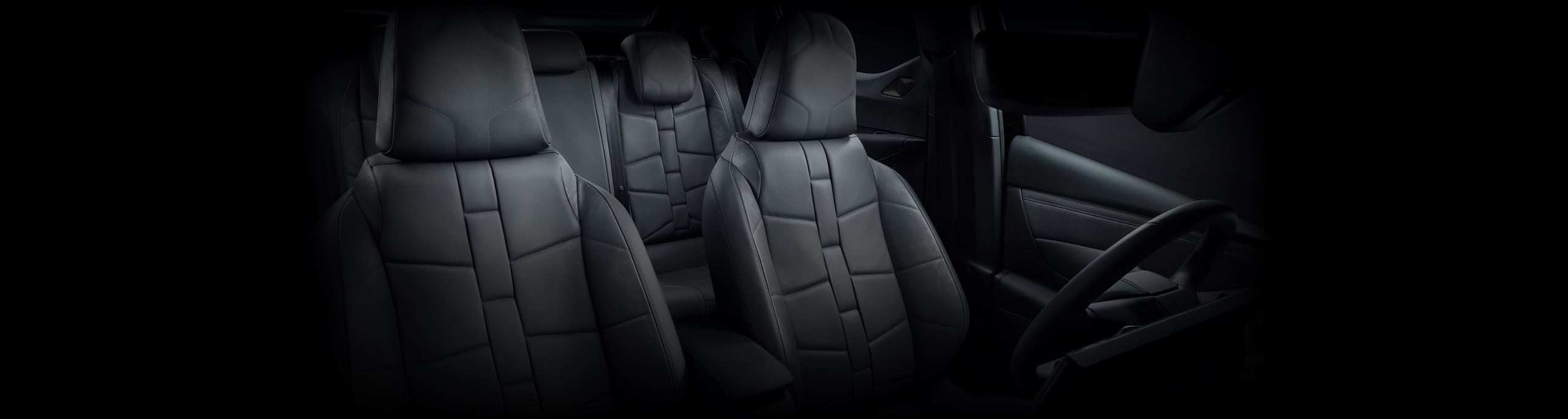 Driver and passanger leather seats with stitched panels