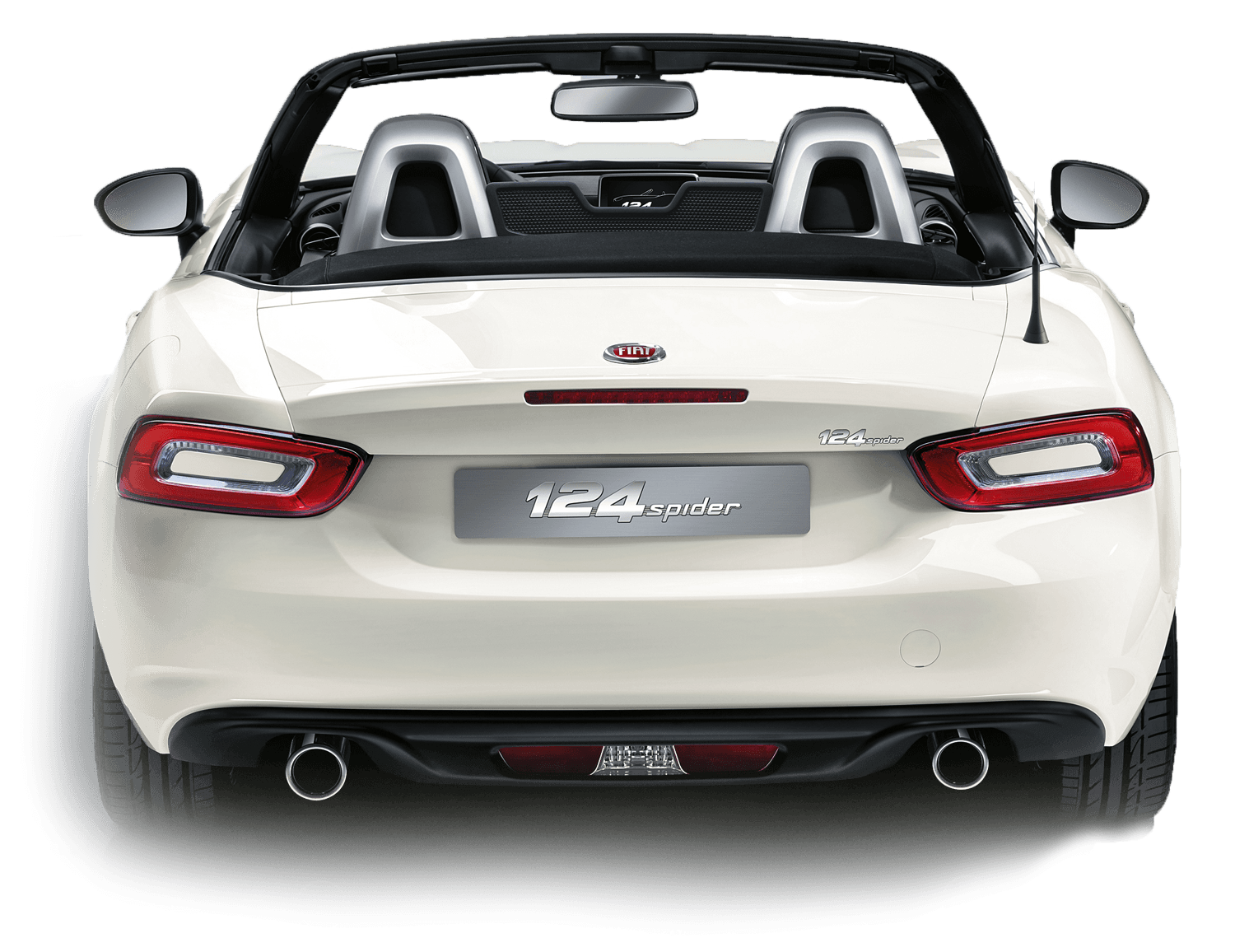 Rear of white Fiat 124 Spider