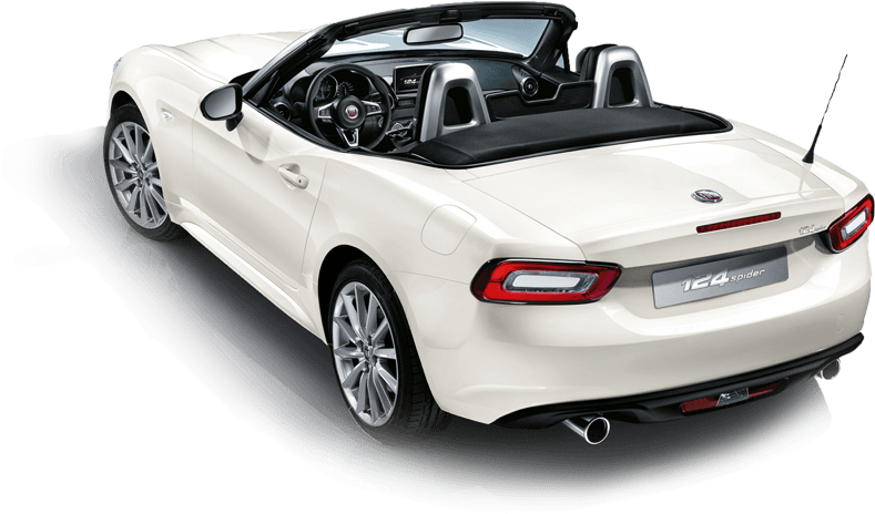 Rear 3/4 of white Fiat 124 Spider