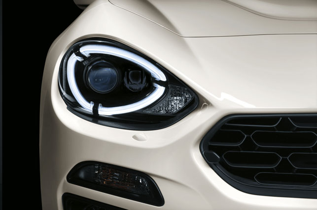 Close up of Fiat 124 Spider front light