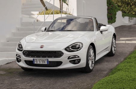 White Fiat 124 Spider parked
