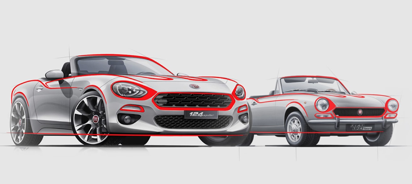 Classic Fiat 124 Spider next to new Fiat 124 Spider
