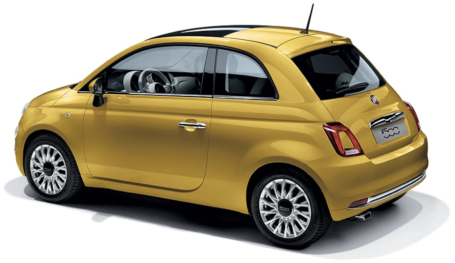 Rear view of a Fiat 500 on a white background.