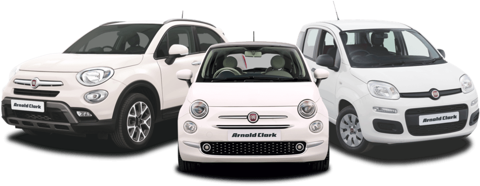 Fiat 500x, Fiat 500 and Fiat Panda in white.