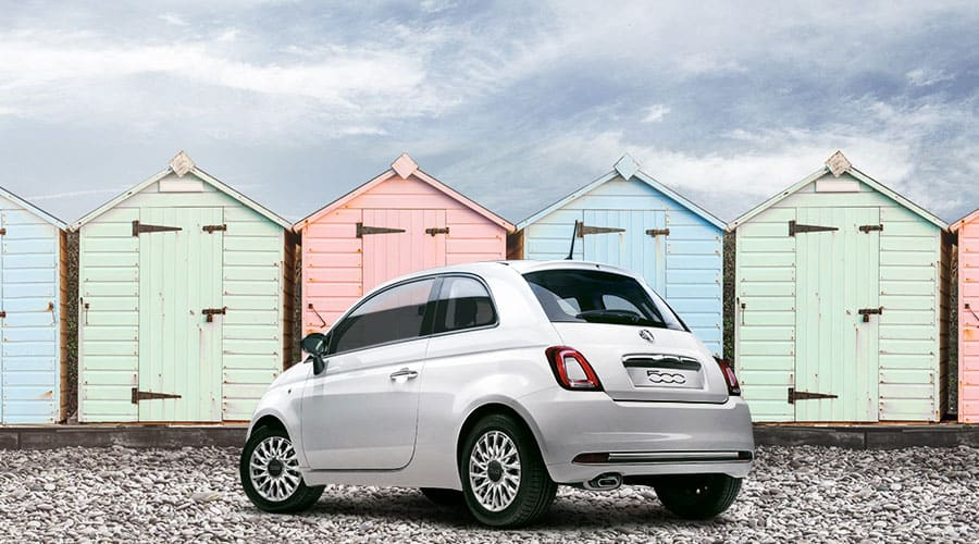 Fiat 500 on the beach
