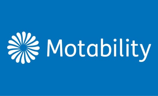 Motability Logo on blue background