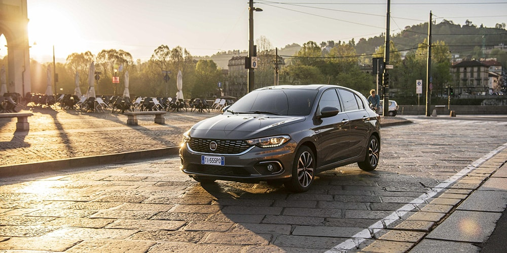 fiat tipo with sunset in background