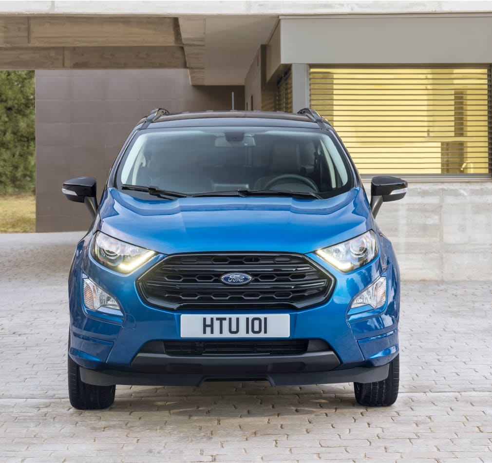 New Ford EcoSport ST-Line sitting in a drive way, front end.