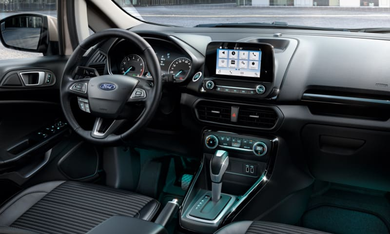 Ford EcoSport dashboard showing the steering wheel and Ford SYNC.