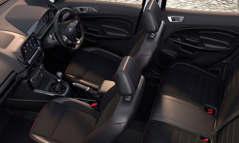 Ford EcoSport leather interior with red stitching.
