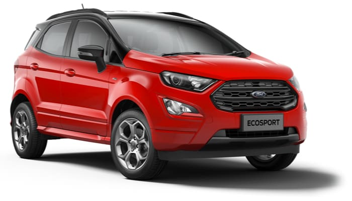 The new Ford EcoSport St-Line model in Race Red with black accent roof.