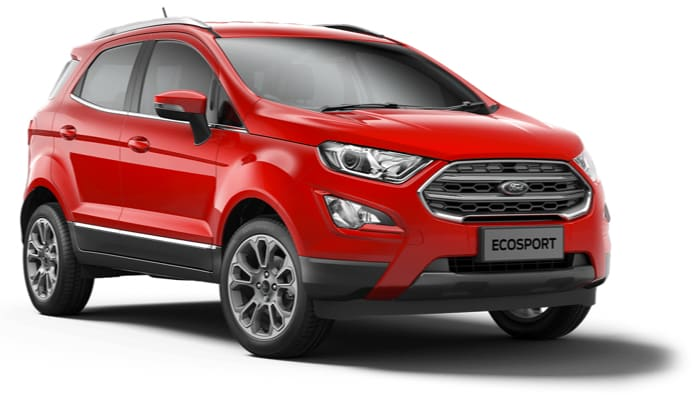 The new Ford EcoSport Titanium model in Race Red.