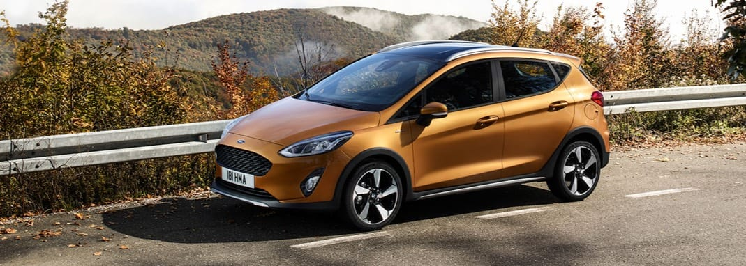 The new Ford Fiesta Active on a scenic mountain backdrop.