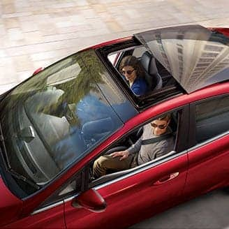 Ford Fiesta panoramic retractable roof opening.