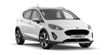 White Ford Fiesta Active 1, front angle.