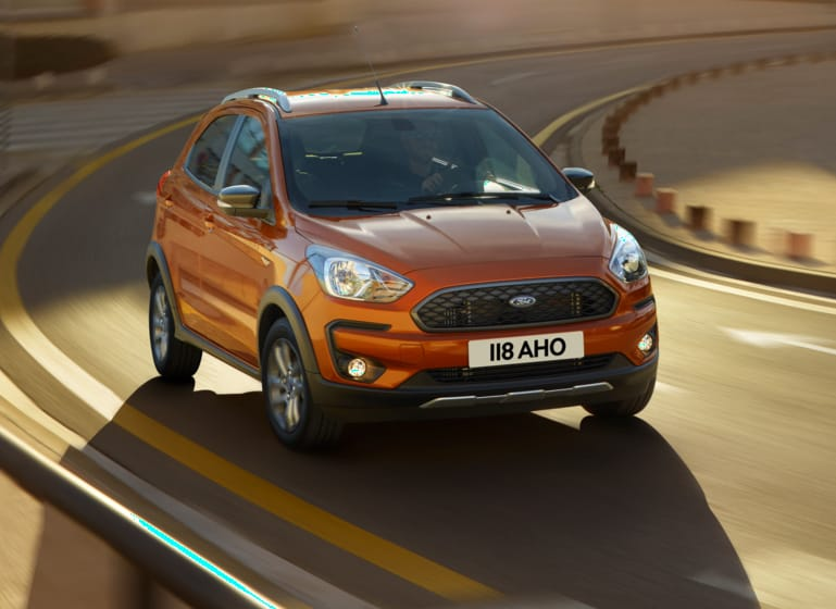 Ford Ka+ Active driving around a bend.