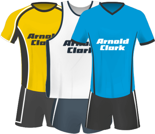 Three Arnold Clark sponsored kits lined up in a row.