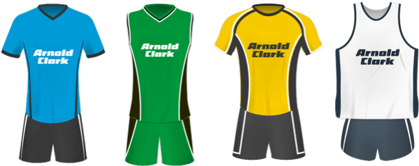 Four Arnold Clark sponsored kits lined up in a row.