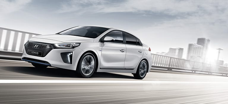 Hyundai Ioniq in white.