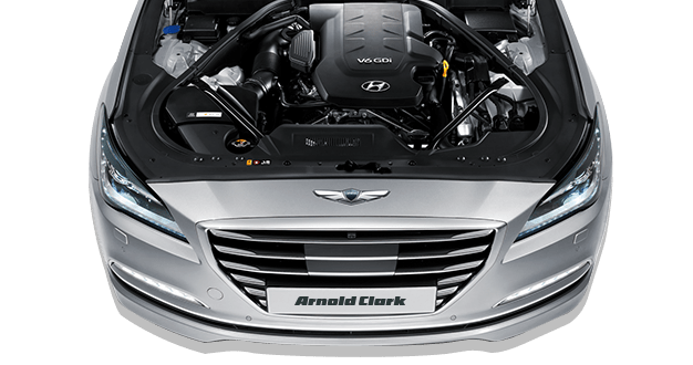 Hyundai Genesis with bonnet open
