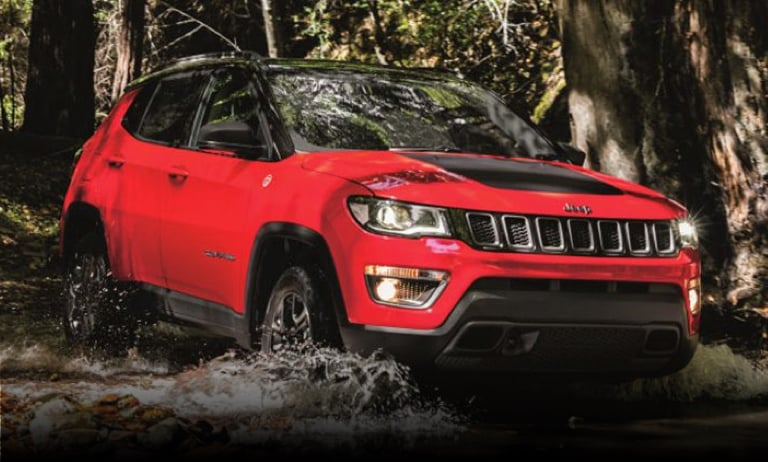 Jeep Compass in the forest