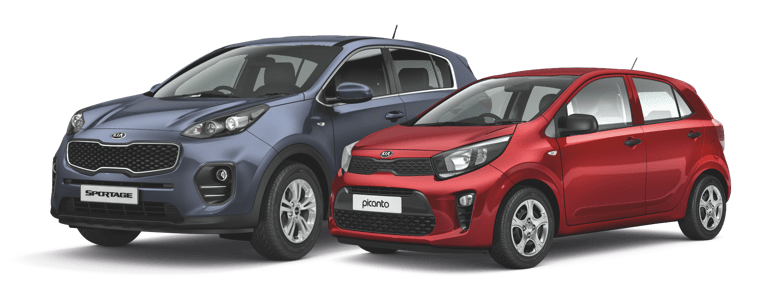 Dark blue Kia Sportage and red Kia Picanto parked