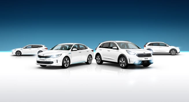 Kia Hybrid and electric range in studio