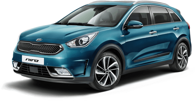 Front of blue Kia Niro