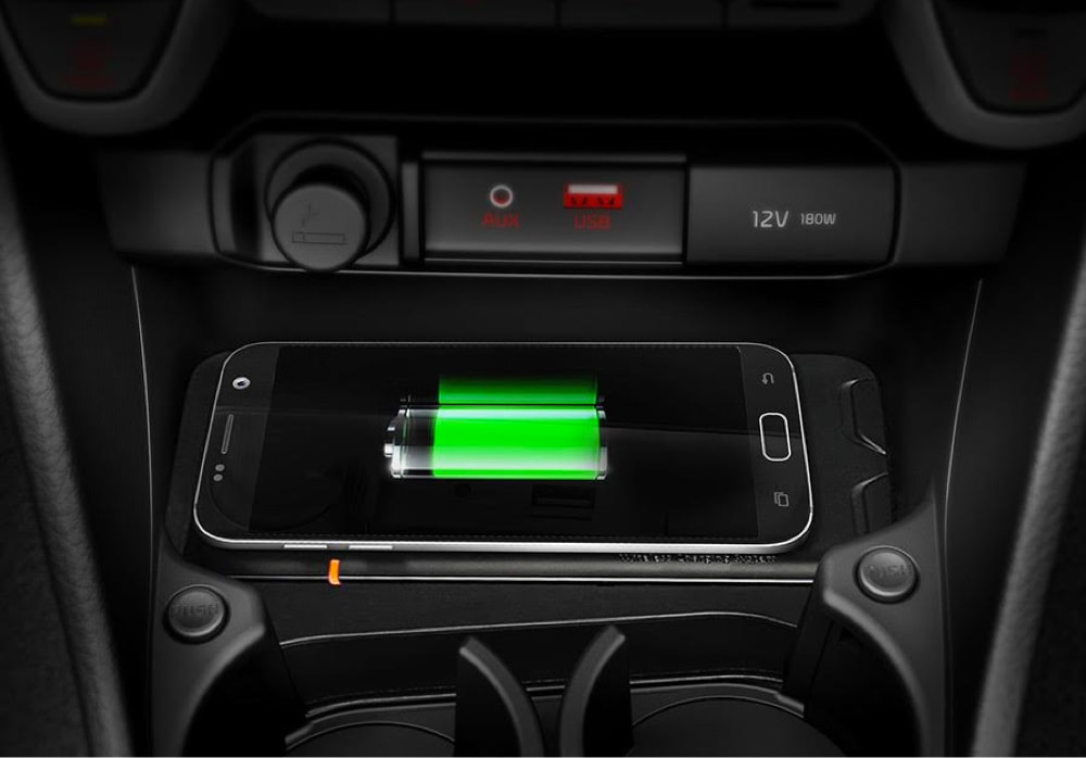 Phone being charged in the all-new Kia Picanto