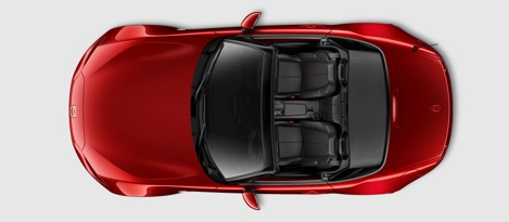 Top down view of red Mazda MX-5