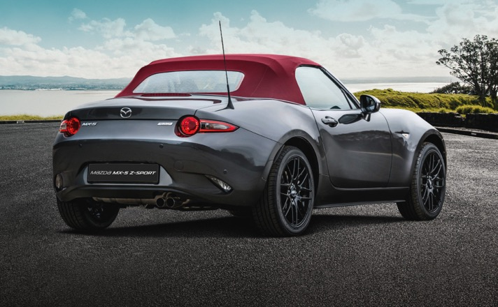 MX-5 with deep cherry red convertible roof