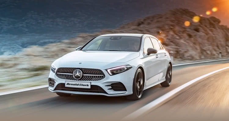 Mercedes-Benz A-Class driving along country road