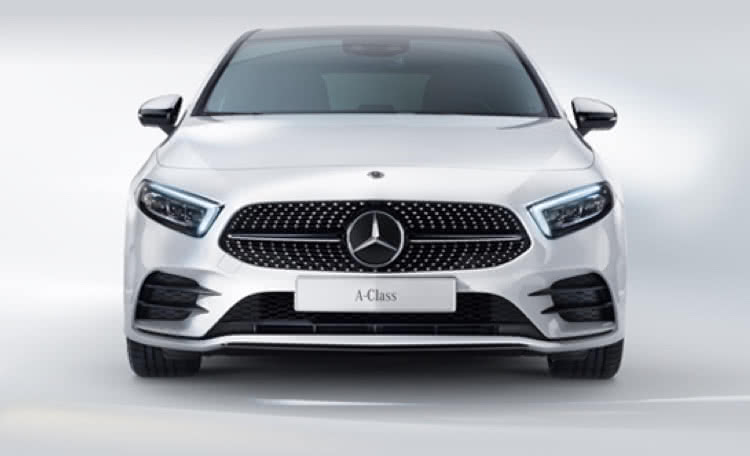 White Mercedes-Benz A-Class front view