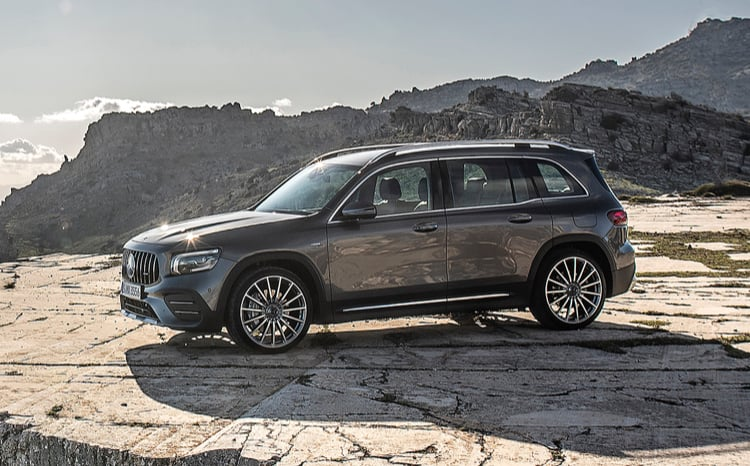 Mercedes-Benz GLB parked on a mountainside.