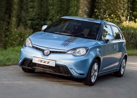 Blue MG3 driving on country roads.
