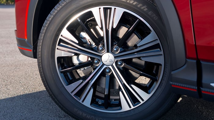 Close up of an alloy wheel.