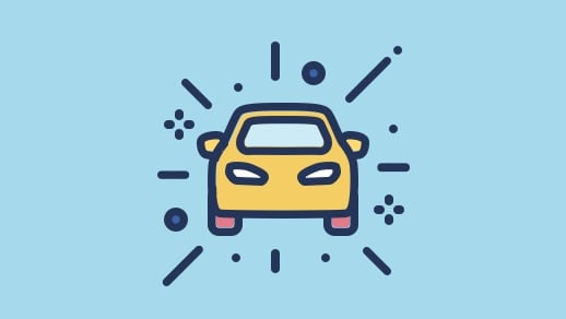 Brightly coloured car icon