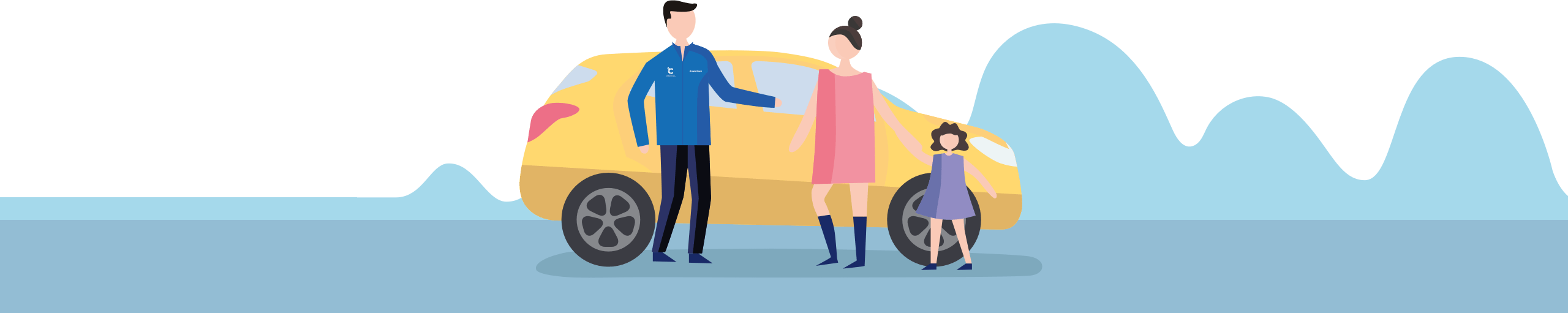 Brightly coloured illustration of a product consultant with a mother and daughter standing infront of a yellow car