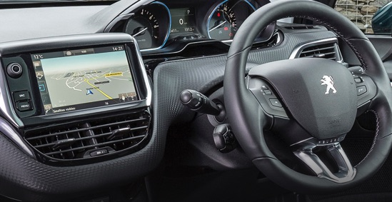 Peugeot 2008 i-Cockpit with large touchscreen and optional satellite navigation.