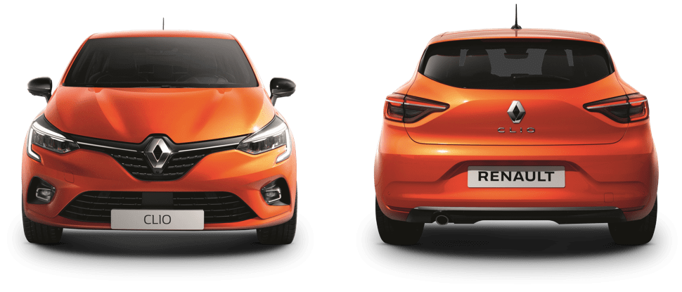 Front and rear views of an orange Renault Clio