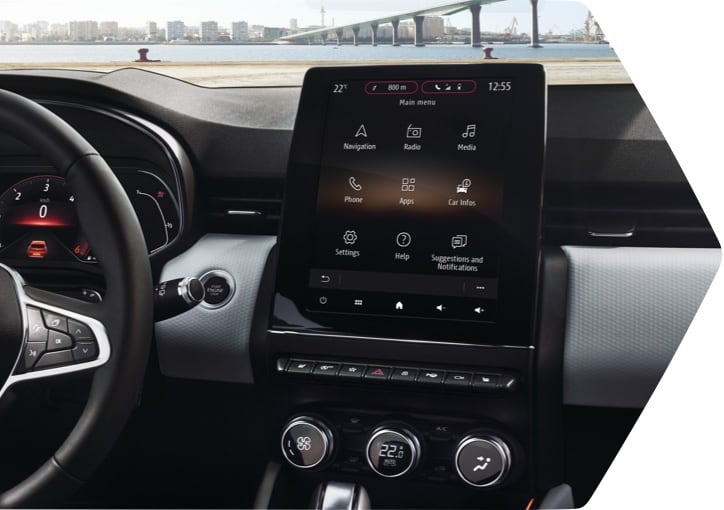 Interior view of the central console's 9.3-inch touchscreen